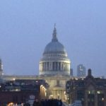 St Paul's Cathedral at dusk on a cold Autumn evening