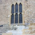 Chapel Window in Wakefield Tower in the Tower of London where Henry VI was murdered.  A pigeon always sits on the transom.
