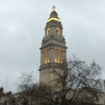 Tower of former Marylebone Town Hall - lights up a dull morning!